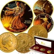 USA Mexico United Kingdom REMBRANDT van RIJN Series OUNCES OF ART Three Silver Coin Set $1 American Silver Eagle Walking Liberty + ₤2 Britannia + 1 Onza Libertad 2015 Gold Plated 3 oz